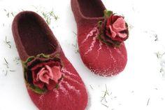 Felted slippers wool slippers cherry burgundy wine with flower made of wool HANDMADE To order custom colors Nuno Felting, Needle Felting, Hand Stiching, Felt Shoes, Felted Slippers, Burgundy Wine, Fabric Beads, Wool Felt, Felted Wool