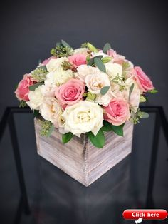Send - White & Pink Wood Box Arrangement Large in Hallandale Beach, FL from K&K Flowers, the best florist in Hallandale Beach. All flowers are hand delivered and same day delivery may be available. All Flowers, Spring Flowers, Beautiful Flowers, Wedding Flowers, Pink Flower Arrangements, Pink Flower Centerpieces, Table Arrangements, Wedding Centerpieces, Wedding Decorations