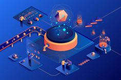 Isometric people work in a team and anal. Flat Illustration, Design Illustrations, Isometric Design, Ui Web, Designs To Draw, Typography Design, A Team, Design Inspiration, Design Ideas