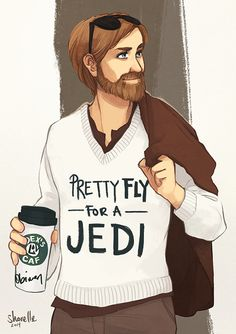 """Illustrated print on 200gsm satin coated  cardstock, featuring Obi-Wan Kenobi from Star Wars. Inspired by """"Pretty Fly for a White Guy"""" by The Offspring.  Available print sizes: A3 = 29.7 x 42cm A4 = 21 x 29.7cm A5 = 14.8 x 21cm"""