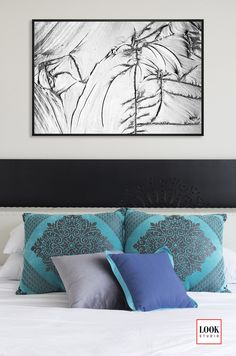 Modern interior decor with silver, gray art. Bedroom with turquoise pillows. Black and white interior. Abstract Photography, Macro Photography, Grey Art, Gray, Turquoise Pillows, Black And White Interior, Asian Design, Find Objects, Crystal Palace