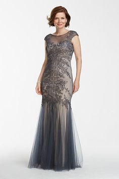 Tulle Trumpet Gown with Embroidered Bodice 57059