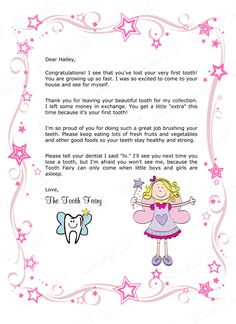 Tooth Fairy Letter - Your Child's 1st Missing Tooth (Girl) - Printable Digital File. $7.95, via Etsy.