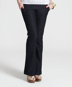 Take a look at this EGG Blue Over-Belly Maternity Denim Trouser Pants by EGG on #zulily today!