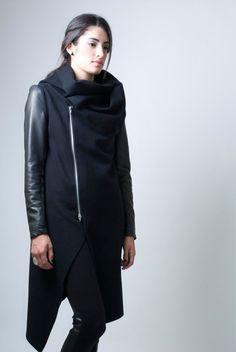Black High Collar Coat Asymmetrical Vest with by marcellamoda, $98.00