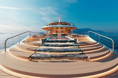 Sinot's Aqua concept is a fascinating superyacht, powered by a hydrogen/fuel cell system. The flowing exterior lines of AQUA are inspired by ocean swells –… Pem Fuel Cell, Fuel Cell Cars, Yacht Design, Bill Gates, Yachting Club, Mini Waterfall, Monaco Yacht Show, Health And Wellness Center, Hydrogen Fuel