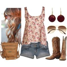 """tank, jeans,and boots: """"Country Chic"""" by qtpiekelso on Polyvore"""