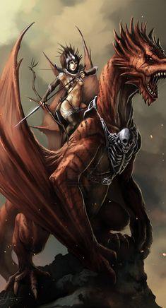 Dragons, Warriors & Sorcerer Fantasy Art Featuring eronzki999