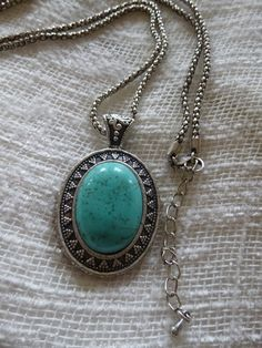 Antique silver necklace with turquoise stone by PoshImpressions, $18.95
