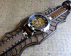 Items similar to Watch Cuff, Leather Bracelet Watch, Steampunk Leather wrist watch, Leather watch strap, on Etsy Amazing Watches, Cool Watches, Watches For Men, Black Leather Watch, Leather Watch Bands, Bracelet Cuir, Bracelet Watch, Expensive Watches, Leather Accessories