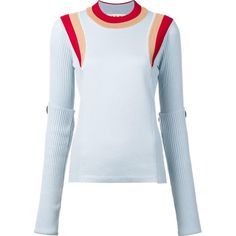 Marni colour block ribbed jumper (19.676.745 VND) ❤ liked on Polyvore featuring tops, sweaters, blue, block sweater, block top, marni sweater, mock neck sweater and colorblock top