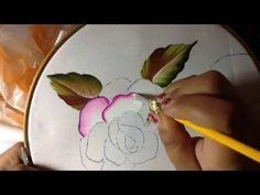 Fabric painting tutorial for beginners. fabric painting on clothes. Fabric painting tutorial for beginners. Acrylic Painting Flowers, One Stroke Painting, China Painting, Painting Videos, Painting Lessons, Tole Painting, Painting Techniques, Fabric Painting On Clothes, Painted Clothes