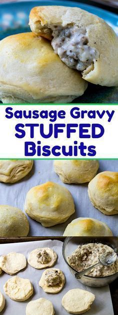 Sausage Gravy Stuffed Biscuits #sausage #biscuits #breakfast #southernrecipes