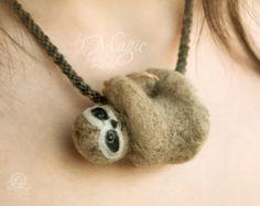 Needle felted toy poodle on braided necklace custom dog por byMagic