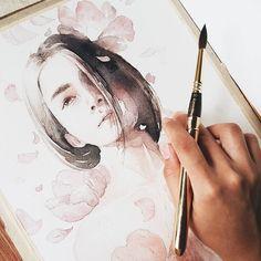 Watercolor Artwork, Watercolor Portraits, Watercolor Illustration, Amazing Drawings, Art Drawings, Colores Faber Castell, Watercolor Portrait Tutorial, Portrait Art, Art Techniques