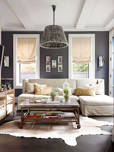 How can I brighten this room with these dark floors? What Goes with Dark Floors? BHG.com article from interior designer @fieldstonehill #darkfloors