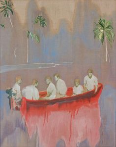 All adrift: 'Figures in a Red Boat' by Peter Doig. Gallery: Michael Werner Gallery, New York; Exhibitions: Treasured island: Peter Doig at the Scottish National Gallery; Peter Doig, Art And Illustration, Photography Illustration, Figure Painting, Painting & Drawing, Painting Inspiration, Art Inspo, Blog Art, Louisiana Museum
