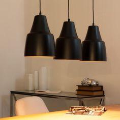 Lámpara de techo triple negra de metal An. 81 cm GUELIZ
