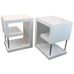 Postmodern Greek Key Design White Lacquered Side Tables/Nightstands   From a unique collection of antique and modern side tables at https://www.1stdibs.com/furniture/tables/side-tables/
