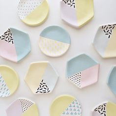 """""""Making progress on these ring dishes. Next step is adding clear glaze! Ceramic Clay, Ceramic Painting, Ceramic Plates, Ceramic Pottery, Pottery Art, Painted Pottery, Pottery Painting Designs, Pottery Designs, Pottery Painting Ideas Easy"""