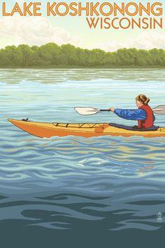 Lake Koshkonong, Wisconsin - Kayak Scene - Lantern Press Poster