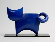 #Bronze #sculpture by #sculptor Stephen Page titled: 'C@ I (Minimalist bronze Little Cat sculptures/statue)'. #StephenPage