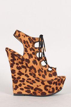 Dollhouse Leopard Cutout Lace Up Platform Wedge