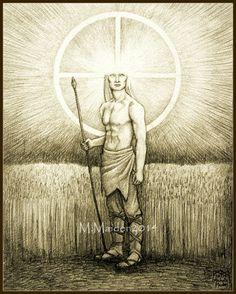 Celtic god Lugh art solar deity by ElementalOtherworld Celtic Paganism, Celtic Mythology, Thor, Loki, Vikings, God Tattoos, Celtic Tattoos, Symbole Viking, Celtic Art