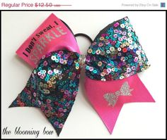 ON SALE Cheer Bow Pink Turquoise Sequin Tick by TheBloomingBow