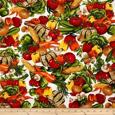Kiss the Cook Vegetable Spring White from @fabricdotcom  Designed by Mary Lake-Thompson, Ltd. For Robert Kaufman, this cotton print features a cooking and kitchen motif. Perfect for quilting, apparel and home décor accents. Colors include white, red, green, yellow, tan and orange.