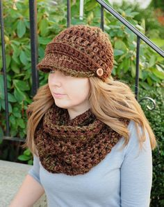 Crochet Hat & Scarf Set Newsboy Hat and Chunky by SimplyMadeByErin