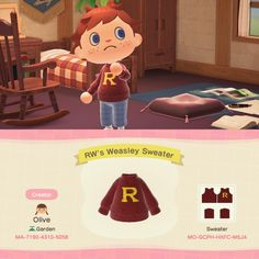 Ron Weasley's Christmas Sweater Animal Crossing Qr Codes Clothes, Animal Crossing Game, Motif Acnl, Motifs Animal, All About Animals, Animal Games, New Leaf, Cool Pictures, Beautiful Pictures