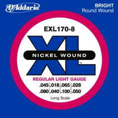 D'Addario EXL170-8 8-String Nickel Wound Bass Guitar Strings, Light, 32-130, Long Scale by D'Addario. $23.43. From the Manufacturer                EXL170-8 is a 8-string version of the best-selling D'Addario bass set. With the addition of octave strings, this set offers the ideal combination of distinctive bright, booming tone and comfortable feel. The most versatile and universally appealing set for all playing styles. Fits long scale basses with a string scale length of up t...