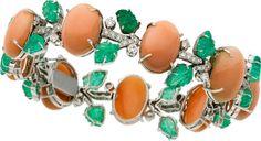 Estate Jewelry:Bracelets, Coral, Emerald, Diamond, White Gold Bracelet T... Image #1