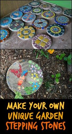 DIY Garden Stepping Stones- DIY Garden Stepping Stones Steps in making stepping stones are very simple that even kids can participate, making their own personalized stepping stones that come in the shapes and colors they desire… - Mosaic Crafts, Mosaic Projects, Mosaic Art, Pebble Mosaic, Mosaic Walkway, Mosaic Ideas, Stone Mosaic, Concrete Stepping Stones, Garden Stepping Stones
