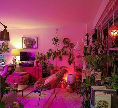 Room Ideas Bedroom, Bedroom Decor, Neon Bedroom, Bedroom Designs, Appartement Design, Stylish Bedroom, Bohemian Living, Bohemian Decor, Modern Bohemian