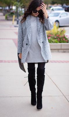 Over the knee boots. Grey to black.