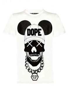 Philipp Plein - 'Dope' T-Shirt White | White cotton T-shirt from Philipp Plein featuring a round neck and a white 'Dope' skull print to the fron