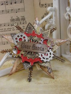 Dear Santa, Altered Art, Steampunk Style Assemblage Christmas Ornament