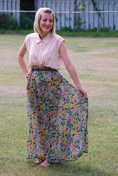 maxi skirt and belt.