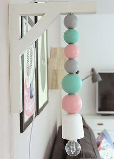 tutorial lampada con sfere legno