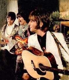 The Beatles recording the Hello, Goodbye promo films at the Saville Theatre, London on 10th November, 1967.