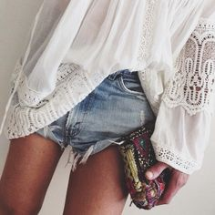 Pretty boho chic crochet top, gypsy style with modern hippie clutch purse & street grunge jean shorts. For the BEST Bohemian fashion & Jewelry trends FOLLOW http://www.pinterest.com/happygolicky/the-best-boho-chic-fashion-bohemian-jewelry-gypsy-/
