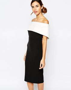 340a33d1bf9b Bardot Bandeau Pencil Dress In Colour Block at asos.com
