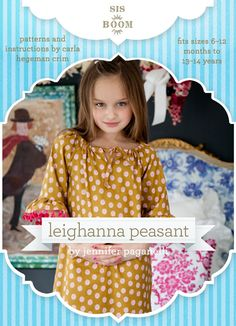 Introducing the Leighanna!!! This peasant dress/top (named for one of our sweetest little fans) has the most darling silhouette and options galore. The bodice can be made with a working drawstring neckline, or with an elasticized mock drawstring for easy dressing. Two separate patterns are provided to make bell or basic sleeves in a ran