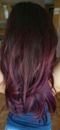 Red Violet ombre hair