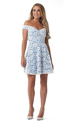 dff9fcb03a91a Sistaglam - White  Martina  lace bardot skater dress with cornflower blue  lining
