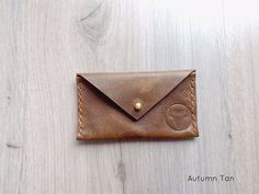 Autumn Tan Envelope Card Wallet by KaruHandmade on Etsy