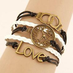 $2.99 Charm Vintage Multilayer Charm Leather Bracelet Women Owl Cross Believe Bracelets Cheap Statement Jewelry Lady Best Friends Gift
