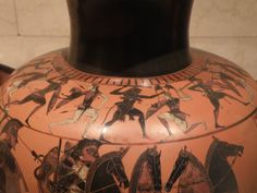 Attic Black-figure Hydria; attributed to the Affector, ca. 530 B.C.; shoulder decoration of Herakles and Greek warriors battling Amazons; Joslyn Art Museum in Omaha, NE